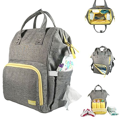 Diaper Backpack Organizer Unisex Travel Bag Large Capacity Lightweight Insulated Waterproof Stroller Compatible Maternity Nappy for Boys and Girls in Grey Yellow