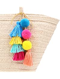 Big Pom Pom Tassel Long Bag Pendant Charm Keyring Keychain for Women Purse Handbag Decor