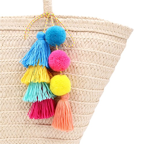 QTMY Big Pom Pom Tassel Long Bag Pendant Charm Keyring Keychain for Women Purse Handbag Decor