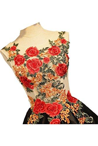 Schwarz Kurz Lo Schwarz Damen Neu Hi Blumen Partykleider Cocktailkleider Abendkleider Rund Ivydressing xq1PTw4n40
