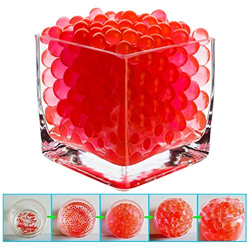 BEAUTIFUL! SHEING® [ 100 PACK ]- RED Water Beads Pearls Centerpiece Wedding Tower Vase Filler,Eco-Friendly Biodegradable Non-Toxic Non-fade & Colorfast ,Safe To Reusable up to 2 years; Ideal for DIY Crafts,Plants,Candle decor and More! - Eco Friendly Vases