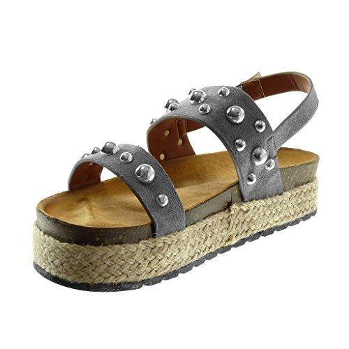 Femme Mule Cheville 4 Corde cm Clouté Mode Gris Plateforme Chaussure Plateforme Compensé Lanière Sandale Talon Angkorly Perle wqt60fXx