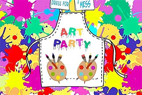 AOFOTO 8x6ft Art Party Backdrops for Picture Rainbow Color Pigment Oil Painting Board Pens Apron Pinafore Photography Background Portrait Video Display Vinyl Photo Studio Drapes (Portrait Portrait 6' Apron)