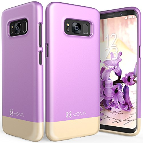 - Vena iSlide [Two-Tone] Dock-Friendly Slim Fit Hard Case Cover for Samsung Galaxy S8 Plus - Lavender/Champagne Gold