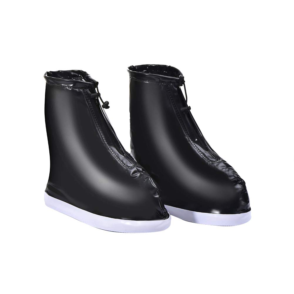 Waterproof Anti Slip Thick Sole Rain Boots Overshoes Black Women S HVdsyf Reusable Shoes Covers for Outdoors Travel