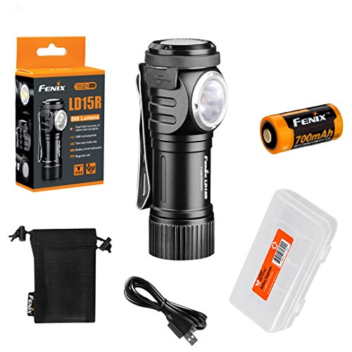 Fenix LD15R 500 Lumen Right-Angle White Red LED Rechargeable Mini Flashlight with Battery and LumenTac Battery Organizer