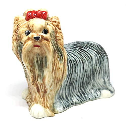 (ZOOCRAFT Collectible Ceramic Dog Figurine Yorkshire Terrier Standing Hand-Painted Small Statue Home Decor Miniatures)