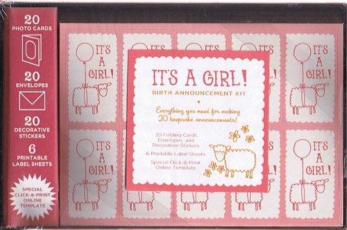 It's a Girl! Birth Announcement Kit (20 Folding Cards, Envelopes and Decorative Stickers / 6 Printable Label Sheets / Special Click-&-Print Online Template ()
