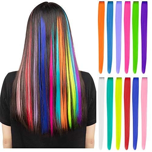 12 Pcs Colored Party Highlights Colorful Clip in Hair Extensions 22 inch Straight Synthetic Hairpieces for Women Kids Girls, Rainbow]()