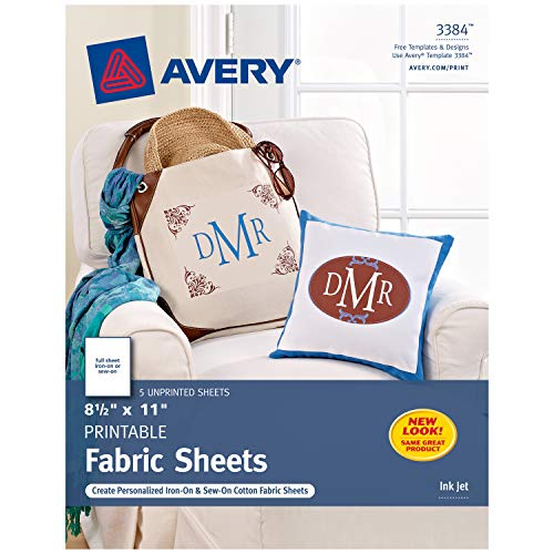 Avery Printable Fabric for Inkjet Printers 85 x 11 Inches Pack of 5 03384