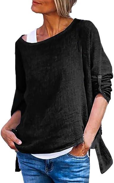 Blusas de Moda Camisa de Manga Larga Cuello Redondo Manga Larga de algodón y Lino Liso para Mujer Camisa de Mujer Color Liso Verano Sencillos Blusa Casual Caminar Diario Compras LiNaoNa: Amazon.es: