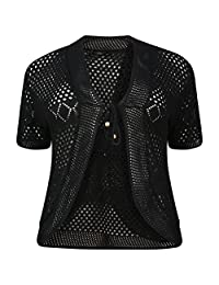 RM Fashions Women's Plus Size Tie Front Knitted Bolero Crochet Cardigan Shrug (M-2XL)