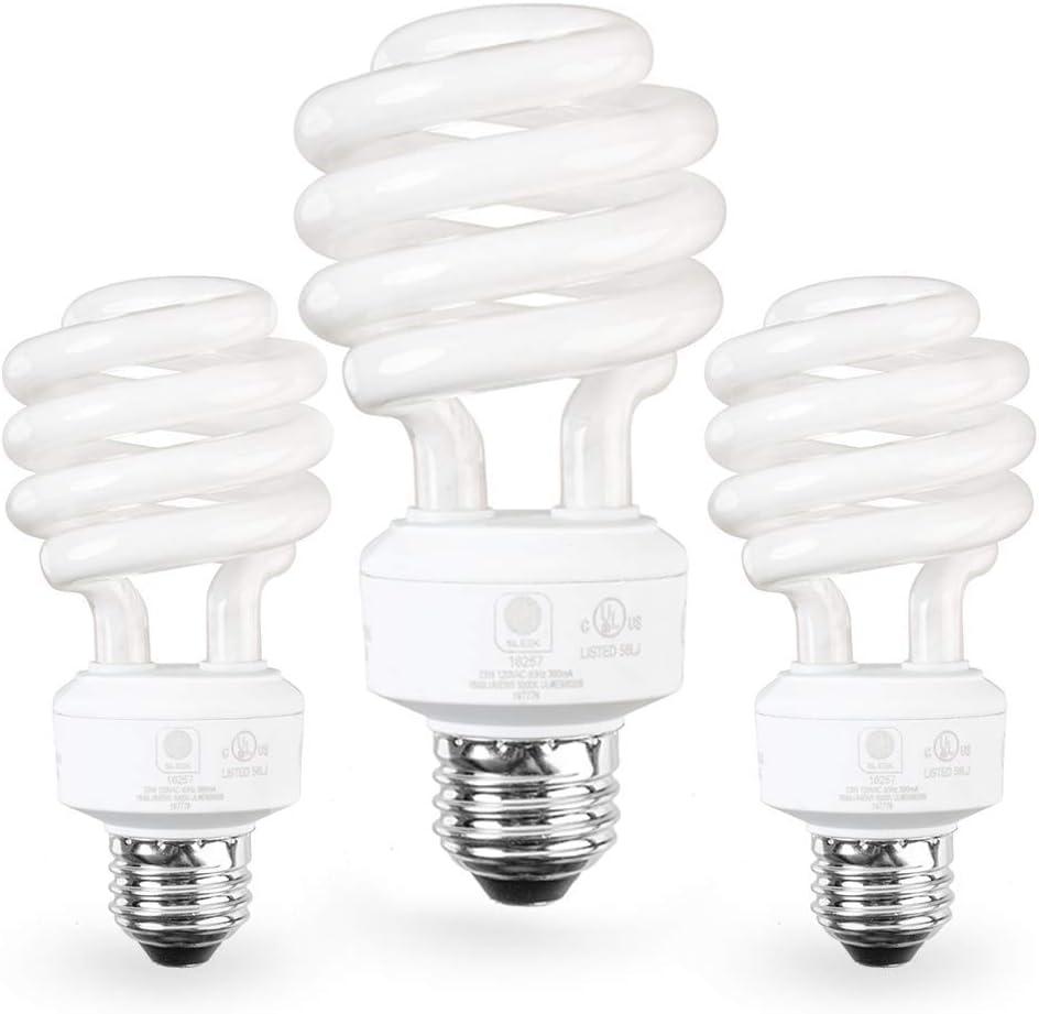 SleekLighting E26 Standard Screw Base 23Watt CFL Light Bulb - 3 Pack, 2700 Kelvin for a Warm White and 1600 Lumens (100 Watt Light Bulb Equivalent) - UL Listed