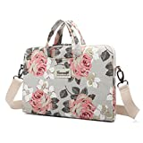 Canvaslife Pink Rose Patten Canvas Laptop Shoulder Messenger Bag Case Sleeve for 11 Inch 12 Inch 13 Inch Laptop and Macbook Air Pro 11 /12/ 13