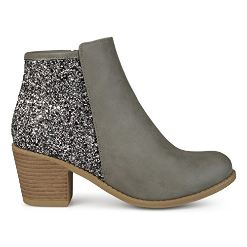 Brinley Co. Womens Faux Leather Wood Stacked Heel Glitter Booties Grey, 8 Regular US ()