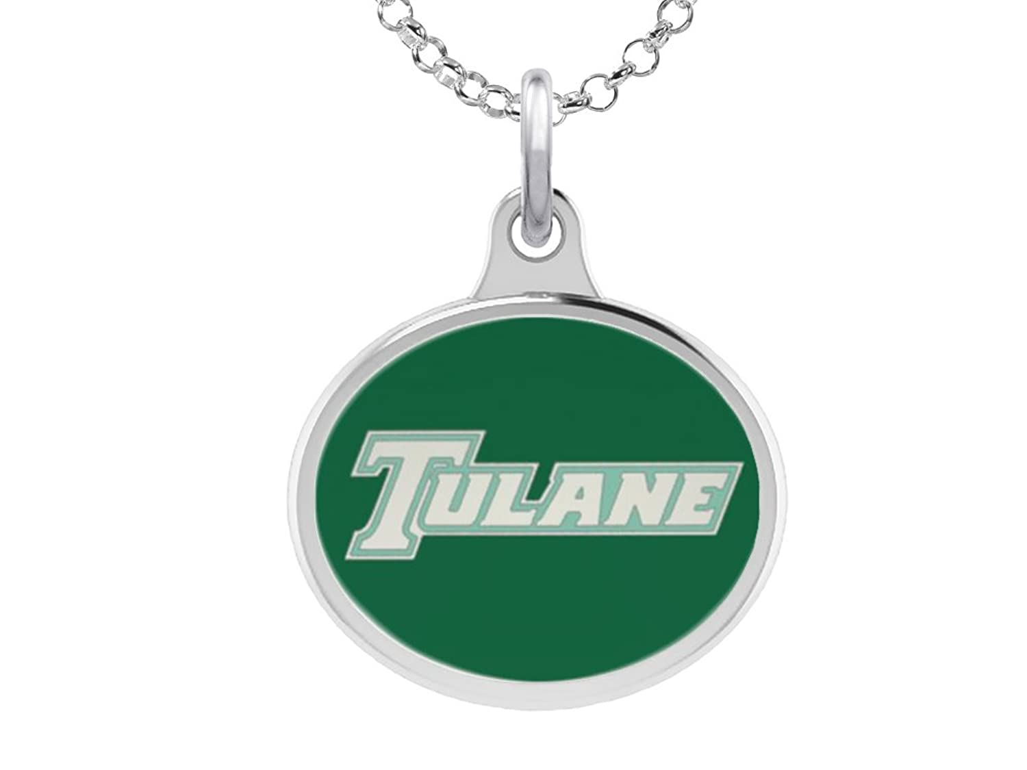 Home college tulane green wave tulane green wave silver plated - Amazon Com Tulane Green Wave Charm Pendant Solid Sterling Silver With Enamel Jewelry