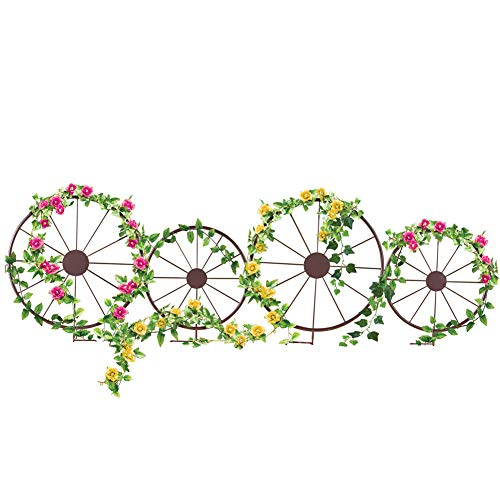 Collections Etc Charming Western Wagon Wheel Metal Border Stakes - Set of 4 with 2 Large Wheels and 2 Small Wheels - Outdoor Yard Decor