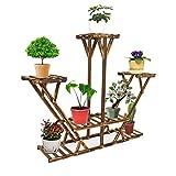 indoor pedestal stand - 6 Tier Wooden Pedestal Plant Stand Plant Flower Display Flowerpot Storage Rack for Indoor Outdoor Garden