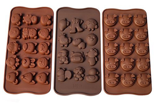 Poproo Animal Shaped Candy Mold 3-Piece Chocolate Molds Ice Cube Tray - Animal Heads, Figures, Pig Face (Set of 3) (Pig Chocolate Mold)