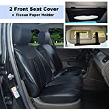 220901S Black-2 Front Car Seat Cover Cushions Leather Like Vinyl + Sun Visor Tissue Paper Holder Clip, Compatible to HYUNDAI ACCENT SONATA HYBRID SONATA PLUG-IN TUCSON FUEL CELL 2018 2017-2007