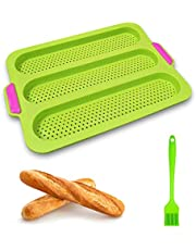 Silicone Baguette Baking Tray 3-Loaf Nonstick Perforated Baguette Pan Loaf Baking Mold with 1 Silicone Brush, Perfect for French Bread Breadstick & Rolls