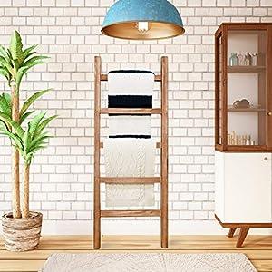 SoFlo Rustic Blanket Ladder - Modern Wooden Ladder - Neutral Color - Trendy Decor - Quilt Holder - Towel Organizer…