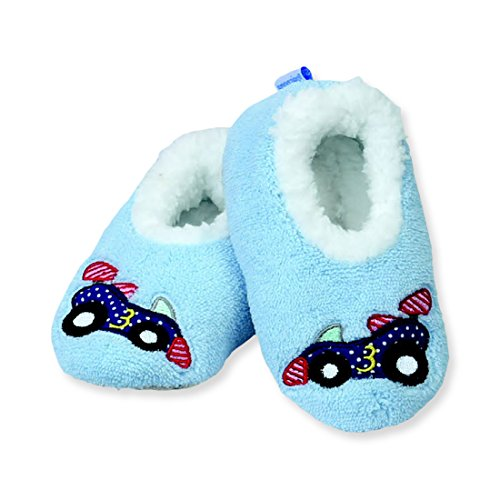 Soft Soles Race Car - Snoozies Baby Patch Pals Applique Non Skid Slipper Socks - Racecar, Small (0/3 Mths)