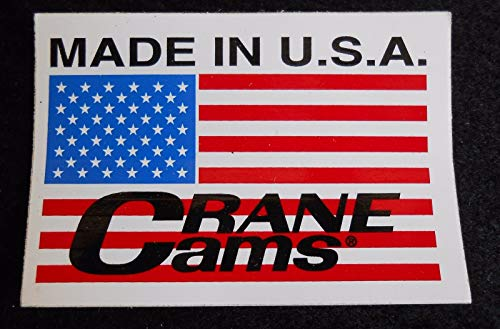 (Montree Shop Crane CAMS American Flag Made in USA CAMSHAFT Sticker Decal Rat Rod Gasser)