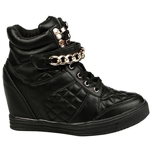 Monica Lace Trainers Wedge Quilted up Leather Hidden Fashion Womens First Feet Faux Black Heel 0waqUCBExn