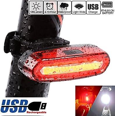 Piloto trasero de bicicleta, impermeable, con batería USB y luz ...