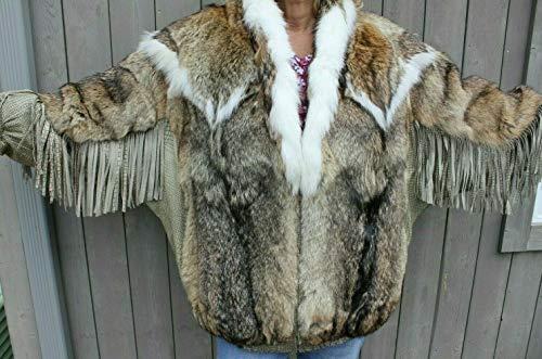 Genuine Coyote Fur Jacket Carlo Palazzi Winter Coat Size Large fringed sleeves