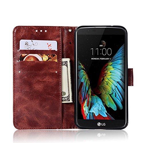 Funda LG K4 2017, SsHhUuJ Funda PU Piel Genuino Carcasa en Folio [Ranuras para Tarjetas] [Cierre Magnetico] con Acollador para LG K4 (2017) / LG K4 M160 (5.0) - Negro Borgoña