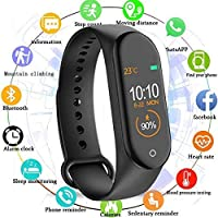 M4 Smart Band Fitness Tracker Watch Heart Rate with Activity Tracker Waterproof Body Functions Like Steps Counter, Calorie Counter, Blood Pressure, Heart Rate Monitor OLED Touchscreen - Black by Fidrox