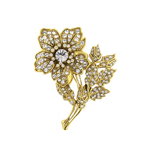 1928 Vintage Gold & Marcasite Flower Brooch by Antiquities Couture