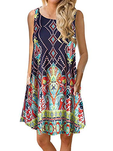 Dasivrry Comfortable Boat Neck Seaside Party A Line Dresses for Girls Dark Blue XXL