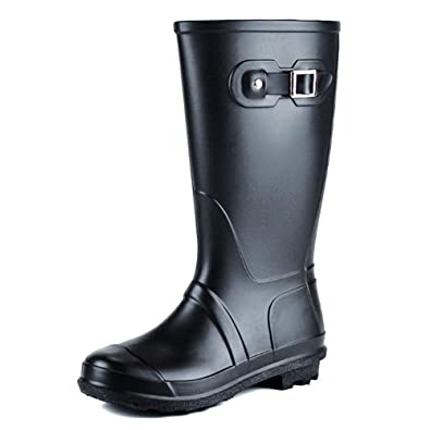f9d9c71e258 uirend Mid Calf Snow Boots Womens - Festival Wellington Wellies Boots Tall  Wide Buckle Slip Resistant Waterproof Rubber Shoes Gardening Navy Sport  Safety ...