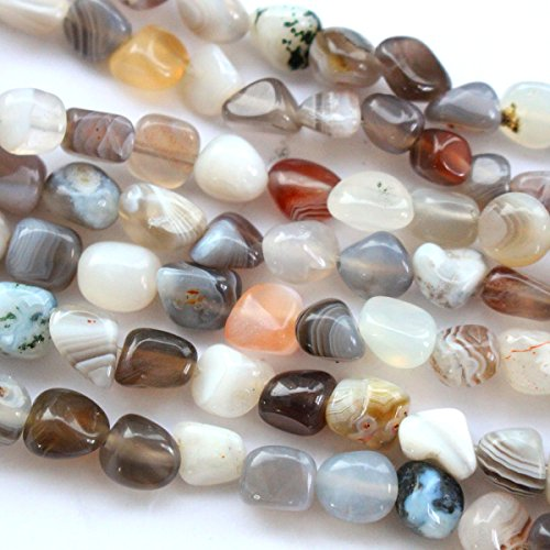 Natural Genuine Real Stone Free Size 6-7mm Nuggets Gemstone Loose Beads for Necklace Jewelry Making (Botswana agate) -