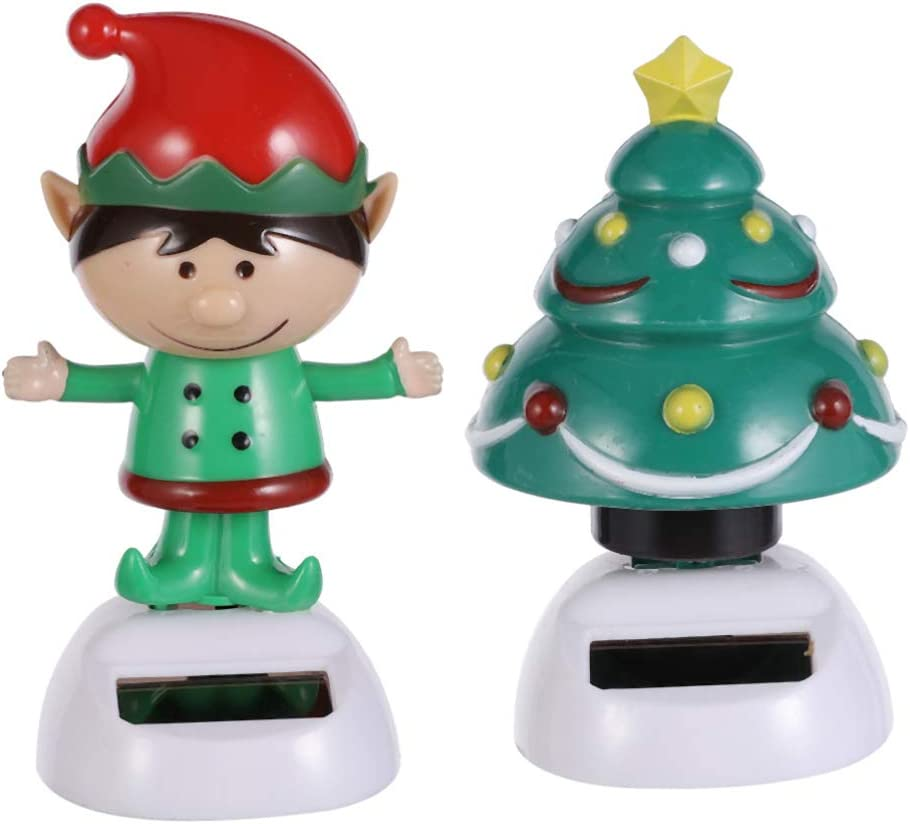 PRETYZOOM 2pcs Dancing Solar Toy Christmas Elf Christmas Tree Solar Powered Toys Car Dashboard Home Decor Novelty Solar Kids Christmas Party Supplies Toy