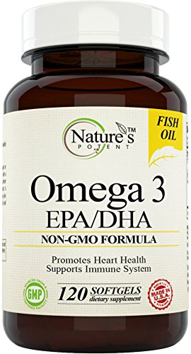 Nature's Potent – Omega 3 Fish Oil, 100% Non-GMO Supplement with EPA/DHA – Burpless 120 Softgels Review