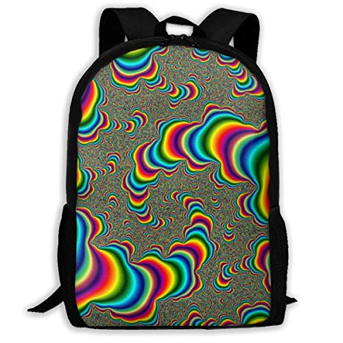Boys Grils Rucksack Back To School Gift - Psychedelic Trippy Rainbow Carry On Bag School Shoulder Book Bags Travel and Sport Backpack Rucksack, Casual Daypack Laptop Backpack (Dominos Best Pizza Name)