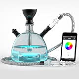 NARSHISHA - Modern Acrylic Hookah With Bluetooth RGB LED Light Base (Black)