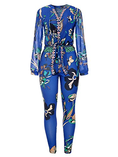 Caat Aycox Women Floral Print Long Sleeve Blouse + Bodycon Stretch Long Pants 2 Piece Outfits Blue-M by Caat Aycox