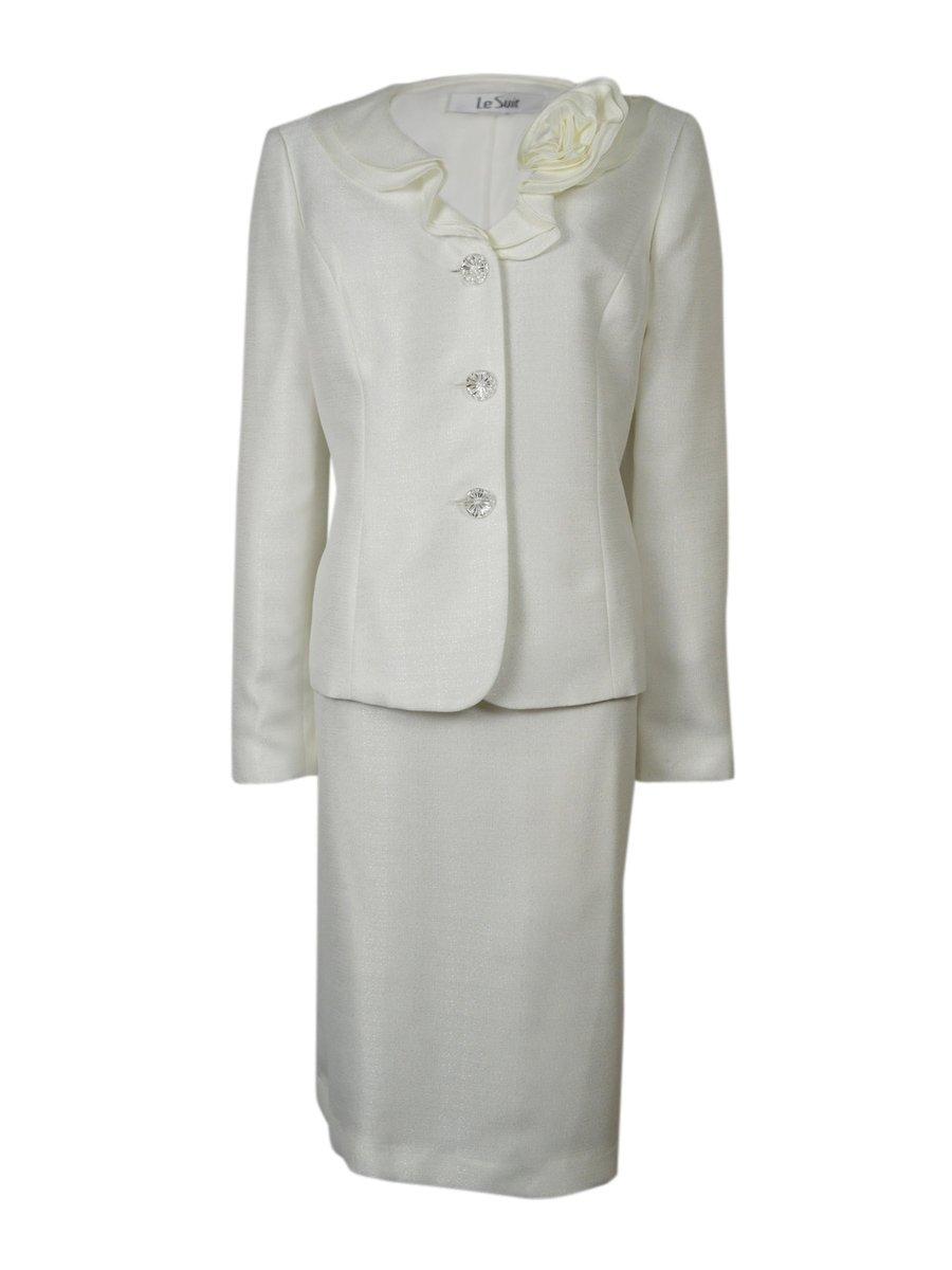 Le Suit Women's 3 Button Petal Collar Jacket and Skirt Set, Vanilla Ice, 10
