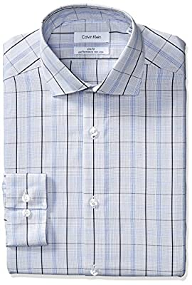 Calvin Klein Men's Non Iron Slim Fit Exploded Check Spread Collar Dress Shirt