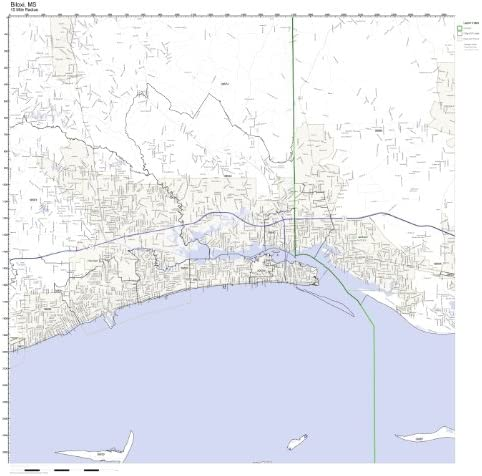 Amazon Com Working Maps Biloxi Ms Zip Code Map Laminated Home