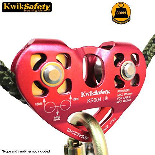 KwikSafety Cruise | Tandem Pulley | Heavy Duty Lightweight Aluminum Alloy Climbing Gear | Min. Breaking Load 30 kN Rope & Cable | EN & CE Tested | High Performance Smooth Tension Zip Line System ()