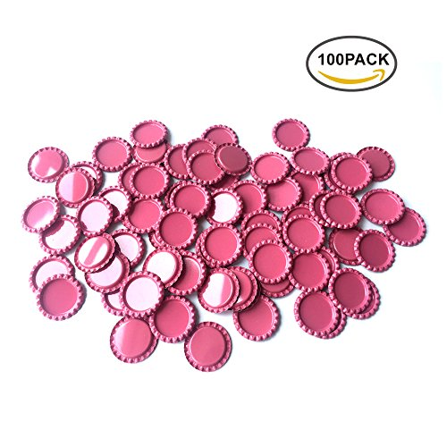 HAWORTHS 100 PCS Flat Decorative Bottle CaP Craft Bottle Stickers Double Sideds Printed for Hair Bows, DIY Pendants or Craft ScraPbooks Pink