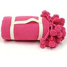 Karma Living Pompom Blanket   Calypso Coral