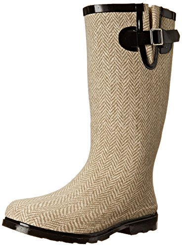 Rain Brown Rubber Boots (Nomad Women's Puddles Rain Boot, Brown/White Herringbone, 6 M US)