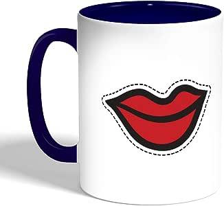 كوب سيراميك للقهوة، لون ازرق،  بطبعة شفاه باسمة